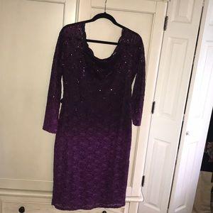 Purple ombré lace Midi dress with sequins detail.